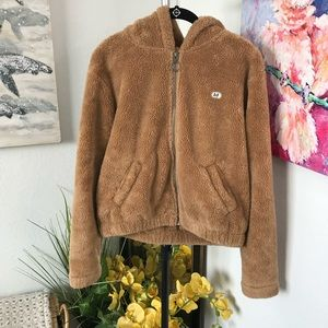 A&F Fuzzy Teddybear Hoodie Jacket Size Small